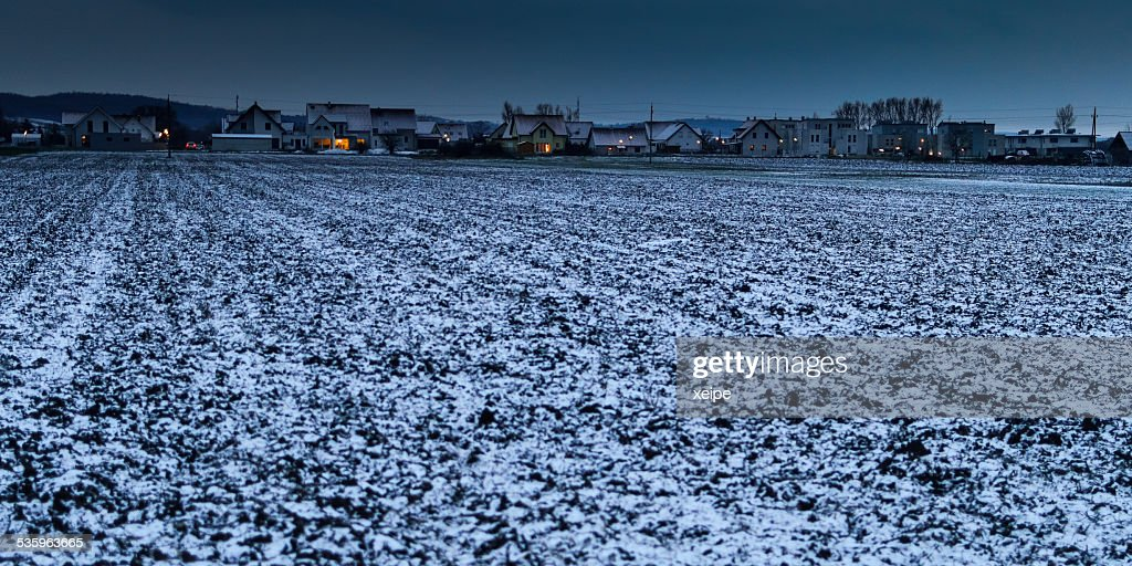 As darkness fell on the village edge in Burgenland : Stock Photo