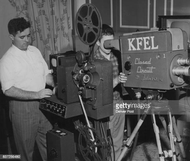 SPE 29 1951 SEP 30 1951 as 'fill in' at the Brown Palace Bill O' Fallan Is shown at the TV Projector Credit Denver Post