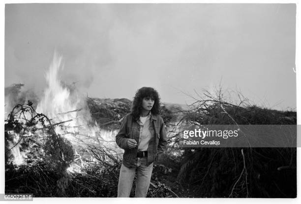 As Francesca French actress Maria Schneider shoots a scene set in blazing countryside for Italian director Luigi Comencini's 1982 film Looking for...