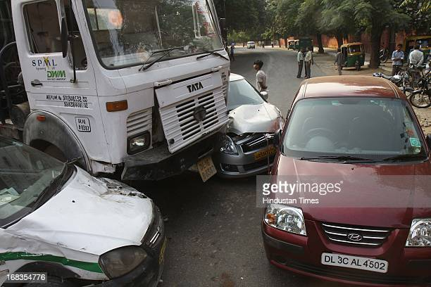 As many as six cars were badly damaged when an NDMC garbage truck went berserk in front of Modern School Vasant Vihar on October 18 2010 in New Delhi...
