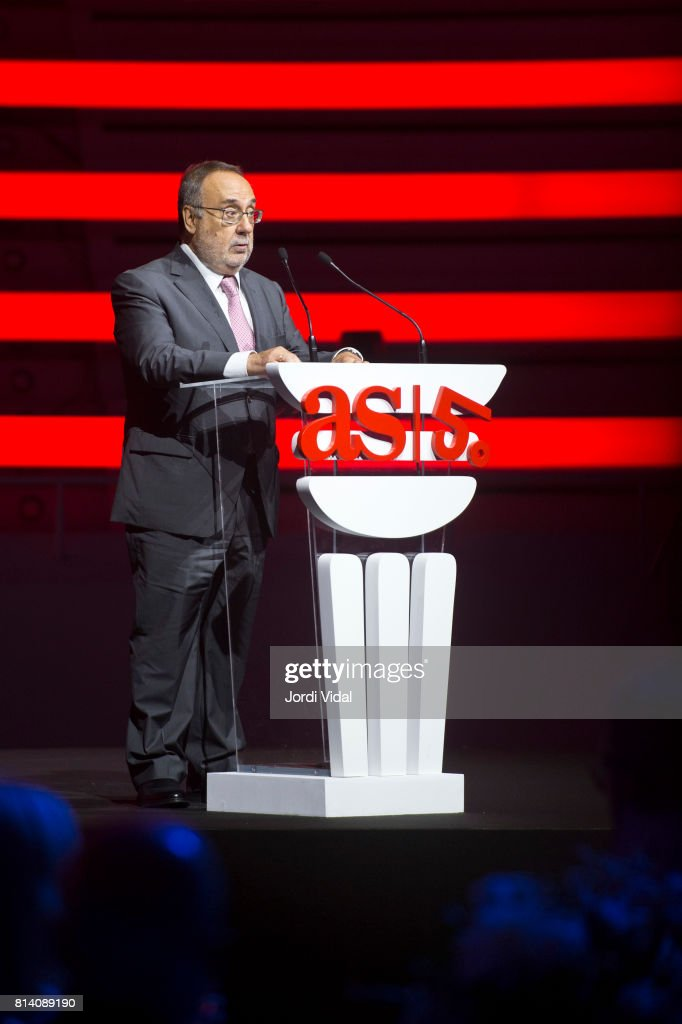 As newspaper director Alfredo Relano delivers a speech during the Homage to Spanish Olympic Medalists at Sala Oval at Museu Nacional d'Art de Catalunya on July 13, 2017 in Barcelona, Spain.