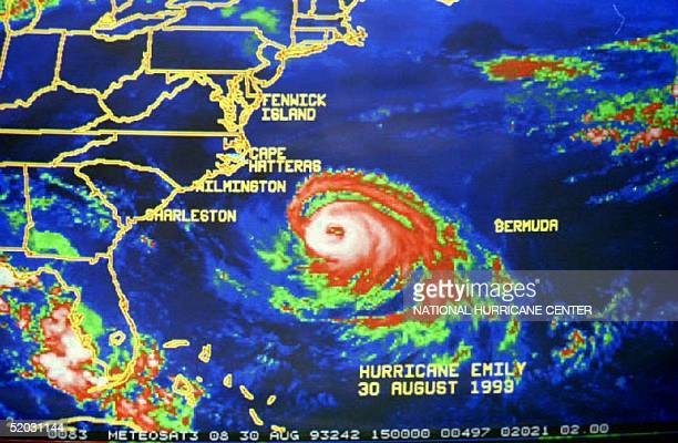 As of 1100 AM EDT 30 August 1993 the center of Hurricane Emily was located near latitude 319 north and longitude 718 west about 325 miles southest of...