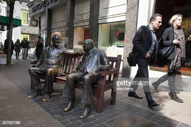 As Old Bond Street becomes NBew Bond Street Allies an unusual statue by Lawrence Holofcener of Winston Churchill and Franklin D Roosevelt who are...
