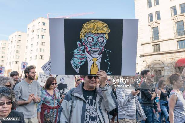 As part of a nationwide series of demonstrations held on President's Day dubbed Not My President's Day convened to denounce the federal agenda being...