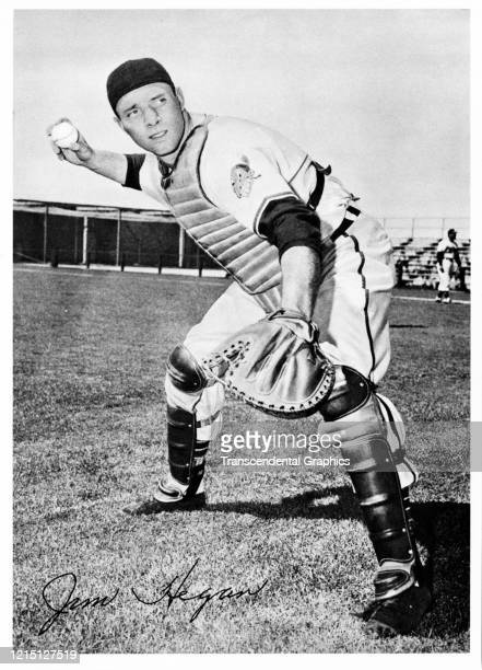 As part of a Picture Pack sold at the ballpark is this photo card of Indians' catcher Jim Hegan produced in Cleveland Ohio in 1950