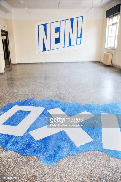 As part of Documenta the English visual artist Michael Landy presents at the Diplarios school are installation 'Breaking NewsAthens' is photographed...