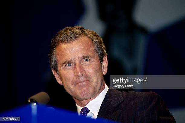 As part of his bid for the governor of Texas, George W. Bush speaks at the State Republican Convention in Fort Worth.