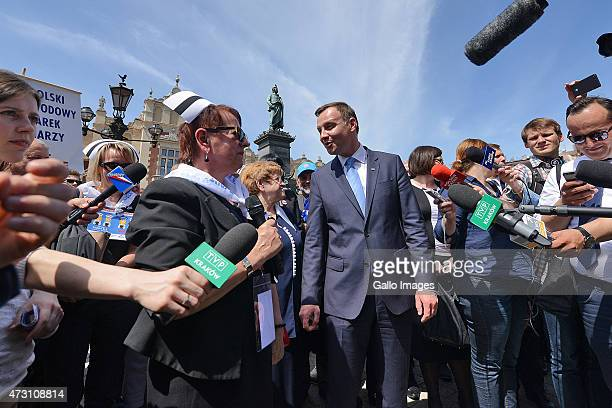 As part of the celebrations of International Nurses Day Andrzej Duda meets nurses and midwives on May 12 2015 at The Main Square in Cracow Poland...