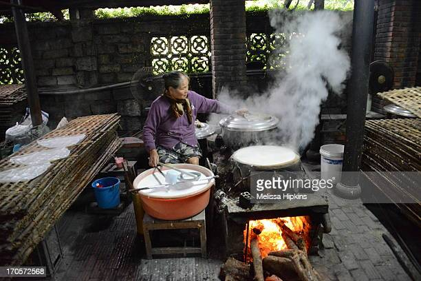 As part of the staple diet, rice paper is an essential everyday food in Hoi An Vietnam. This ladies has been making rice paper daily for over thirty...