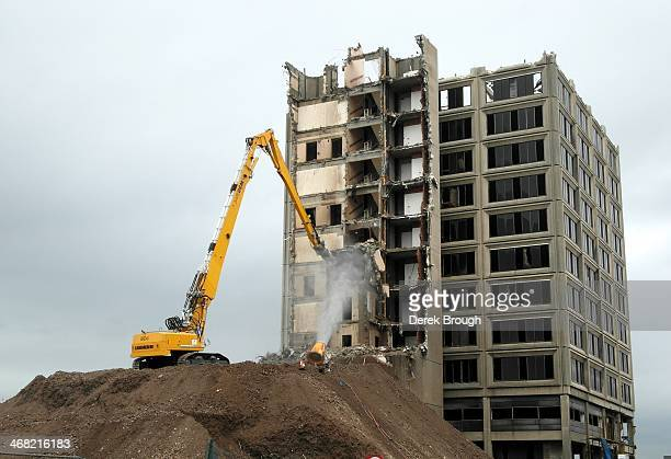 As part of the Waterfront Redevelopment project taking place in Dundee Scotland, Tayside House gets demolished.