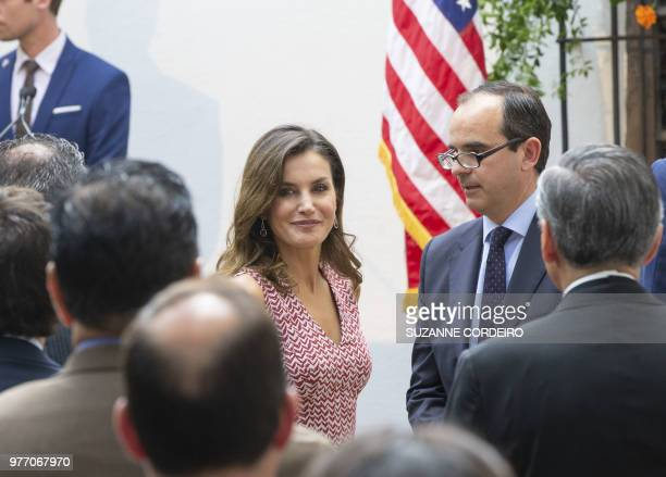 As part of the yearlong Tricentennial celebration Spanish queen Letezia arrives at the Spanish Governors Office in San Antonio Texas to attend a...