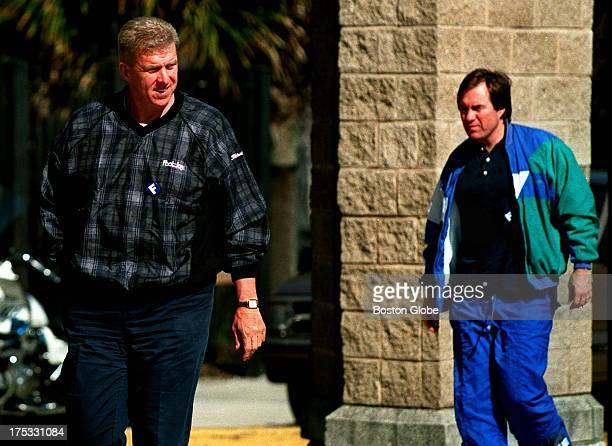 As Patriots coach Bill Parcells is the first one off the team bus heading into practice at Tulane University Bill Belichick assistant head coach...