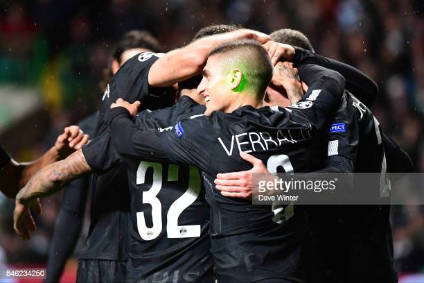 As PSG celebrate going 40 up a laser is shone onto Marco Verratti of PSG during the Uefa Champions League match between Glasgow Celtic and Paris...