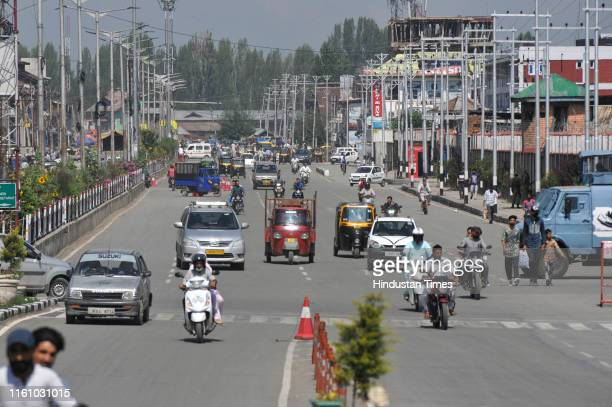 As restrictions eased traffic rush on the roads is seen a day before Eid alAdha on August 11 2019 in Srinagar India However many areas in the old...