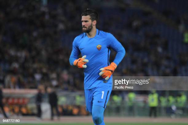 As Roma goalkeeper Allison Becker at Stadio Olimpico of Rome As Roma winning the match versus Genoa and safe the third place of Italian Serie A