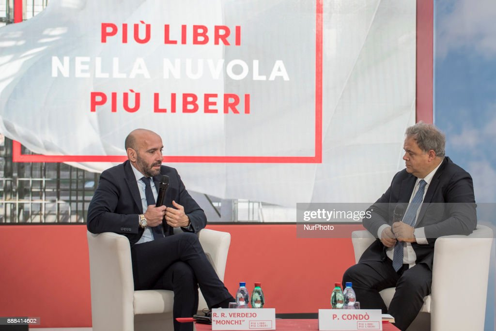 """As Roma sports manager Ramon Monchi, talks during the presentation of the book written by Daniel Pinilla """"Monchi. The secrets of King Midas of world football """" during Più Libri Più Liberi small fair and media publishing 2017 in Rome"""