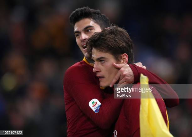 As Roma v Us Sassuolo Serie A Patrik Schick of Roma celebrates with Diego Perotti after the goal of 20 scored at Olimpico Stadium in Rome Italy on...