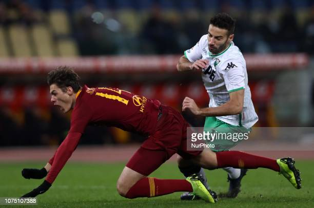 As Roma v Us Sassuolo Serie A Penalty foul by Gian Marco Ferrari of Sassuolo on Patrik Schick of Roma at Olimpico Stadium in Rome Italy on December...