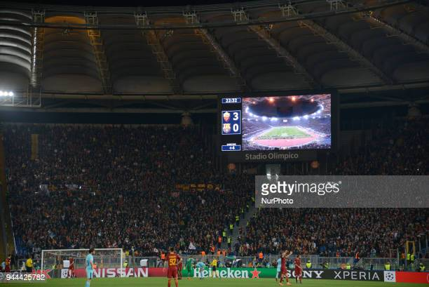 As Roma victory the UEFA Champions League quarter final match between AS Roma and FC Barcelona at the Olympic stadium on April 10 2018 in Rome Italy
