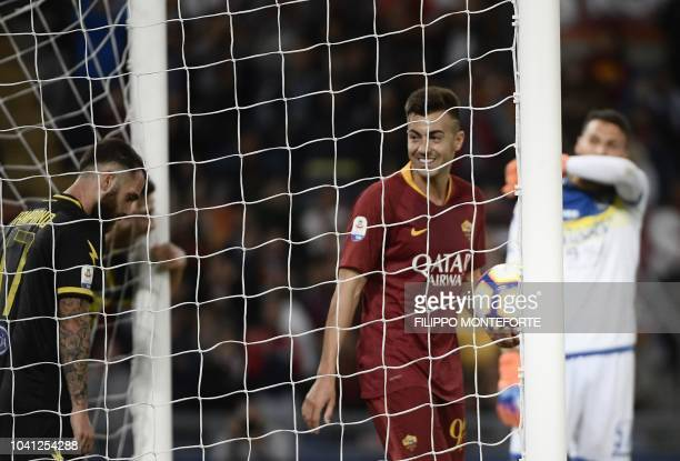 As Roma's forward Stephan El Shaarawy from Italy celebrates after scoring during the Serie A football match Roma vs Frosinone on September 26 2018 at...