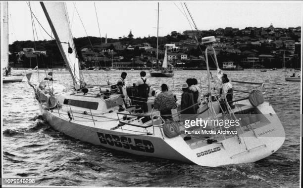 "As Sailing Boats Star Ocean Race Through Heads.The start of the Mooloolaraba yacht race.""Bobsled"". April 3, 1990. ."