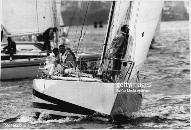 """As Sailing Boats Star Ocean Race Through Heads.The start of the Mooloolaraba yacht race.""""Leverage"""". April 3, 1990. ."""