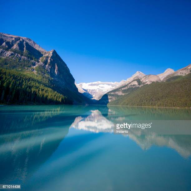 As seen from the Eastern shore, the beautiful Lake Louise, situated in Alberta's Banff National Park, 180 kilometres west of Calgary.