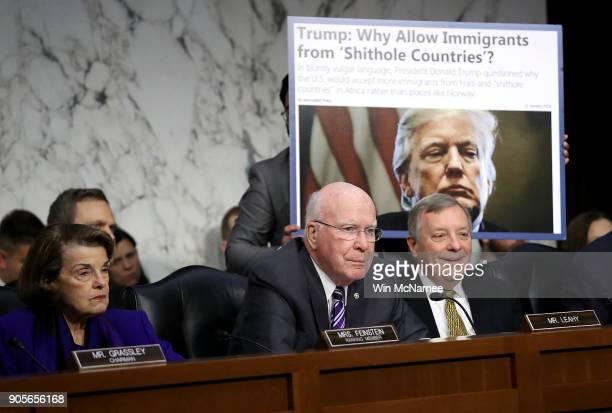 As Sen Richard Durbin looks on Sen Patrick Leahy questions Homeland Security Secretary Kirstjen Nielsen during a hearing held by the Senate Judiciary...