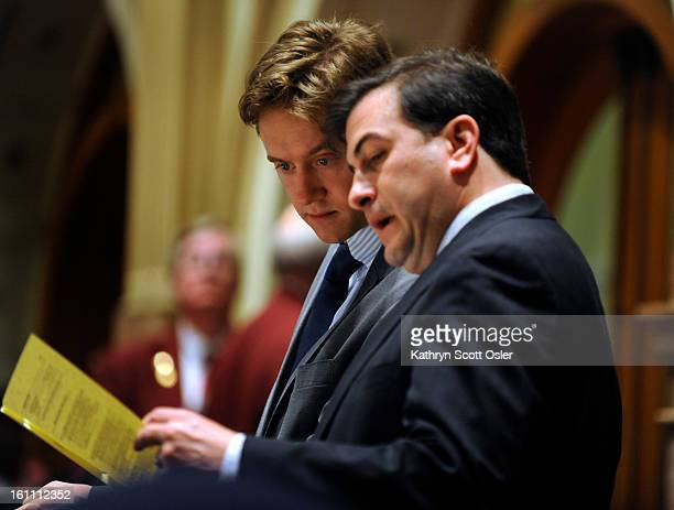 As Senator Johnston maneuvers from one side of the senate floor to the other he stops for a moment with Senate President Brandon Shaffer Johnston Sen...