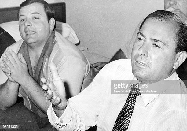 As son Anthony Columbo lends support Joseph Colombo says The FBI made me the boss of a Mafia family so that's what I wil beBeing interviewed at Park...