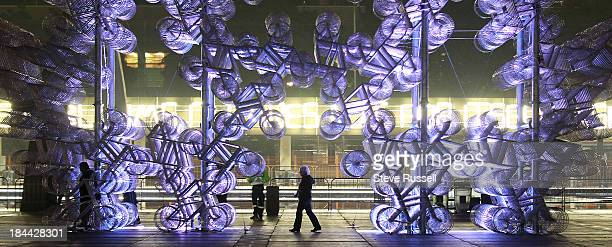 TORONTO ON OCTOBER 13 as the Ai Weiwei's Forever Bicycles continues to be on display at at Nathan Phillips Square in Toronto October 13 2013