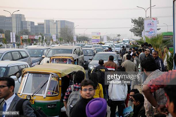 As the day finished roads outside Auto Expo venue witnessed a huge jam and buses ferrying visitors were also overloaded on February 5 2016 in Greater...