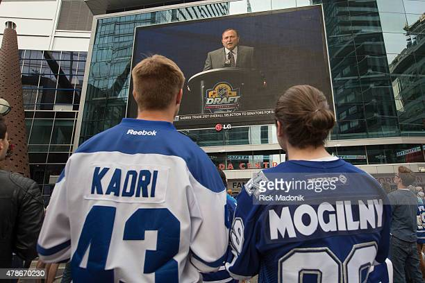 TORONTO JUNE 26 2015 As the draft gets underway NHL Commissioner Gary Bettman makes some announcements as the fans start to get anxious about the...