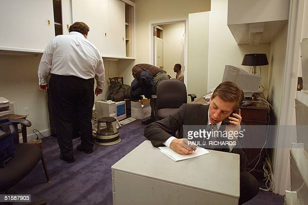 As the first business day of the new George W Bush administration starts Assistant Press Secretary Gordon Jondroe makes due and uses a file cabinet...