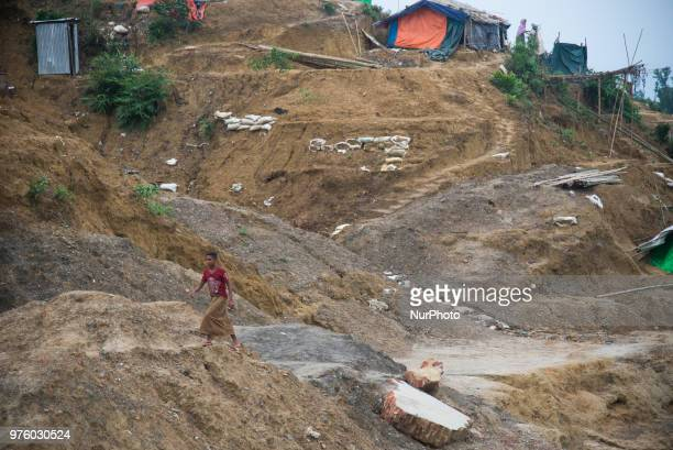 As the hundreds of thousand rohingya fled from myanmar violence and taken shelter on the hills of Cox's Bazar on 16 June 2018. They started cutting...