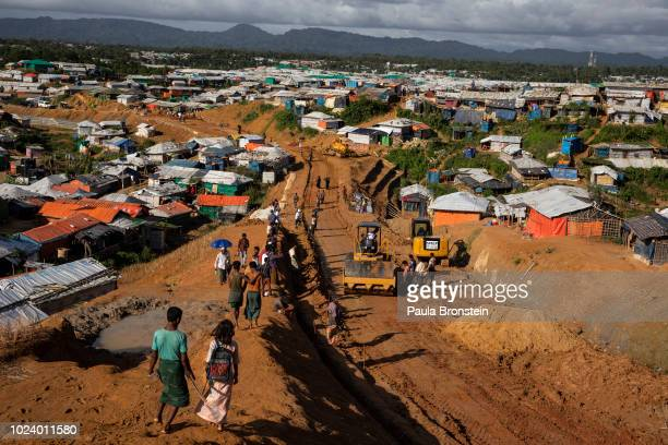 As the infrastructure continues to improve a road is built in Kutupalong the largest refugee camp housing the Rohingya on August 26 2018 in...