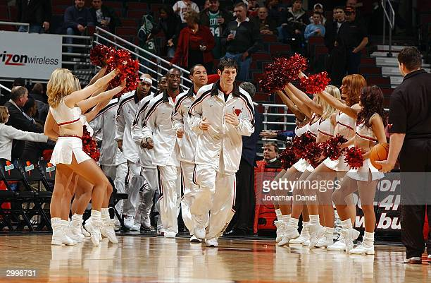 As the Luvabulls cheer Kirk Hinrich leads the Chicago Bulls onto the court for the game against the Boston Celtics at the United Center on February...