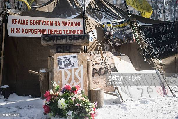 As the Rada the ukranian parliament debated the amnesty for the prisoners of the riots of the past days the protesters do not leave the camp in...