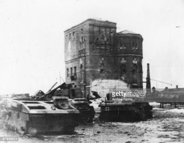As the Russians continue their push the retreating Germans have inevitably had to abandon considerable material such as these disabled tanks near...