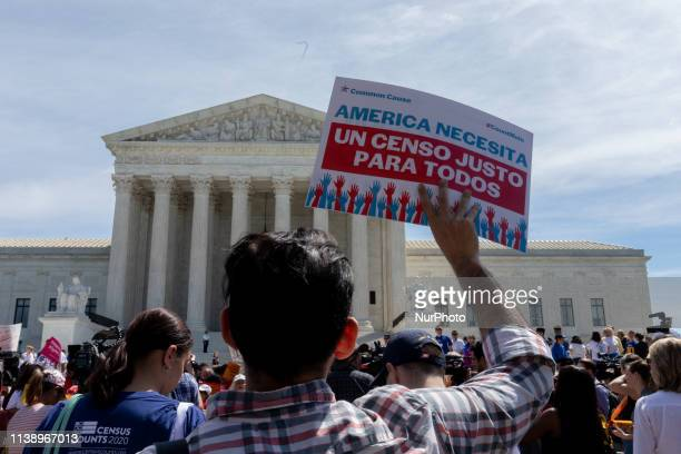 As the Supreme Court justices hear oral arguments over the 2020 census citizenship question protesters have gathered outside the building in support...