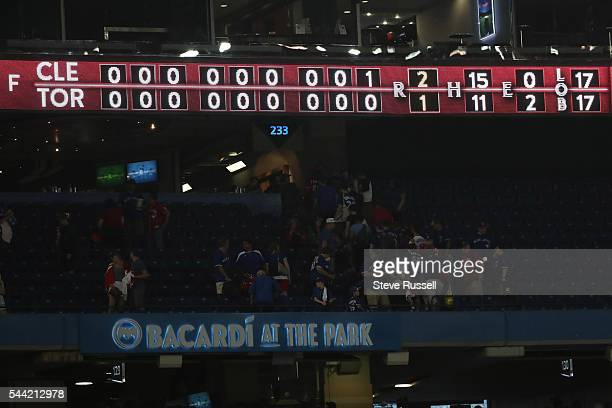 As the Toronto Blue Jays lose the Cleveland Indians 2-1 in 19 innings on Canada Day at the Rogers Centre in Toronto. July 1, 2016.