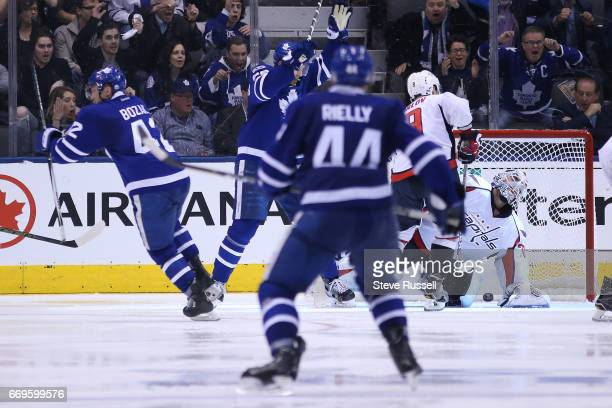 TORONTO ON APRIL 17 as the Toronto Maple Leafs beat the Washington Capitals 43 in overtime in game three of their NHL first round playoff at the Air...