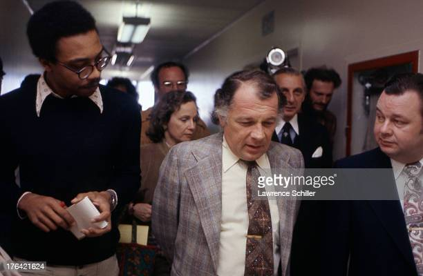 As they walk down a corridor American attorneys F Lee Bailey and J Albert Johnson speak to the media San Francisco California 1976 At the time the...