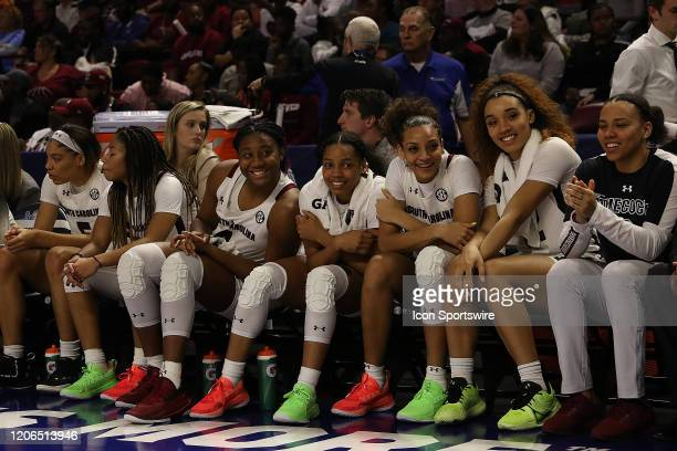 As time runs out, the Carolina team is all smiles during the SEC Championship Women's college basketball game between the Mississippi State Bulldogs...