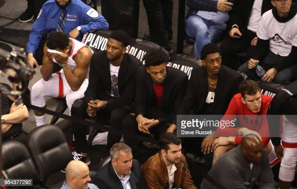 As time winds down Toronto Raptors guard Kyle Lowry sits at the very end of the Toronto bench as the Toronto Raptors lose game two 128-110 to the...