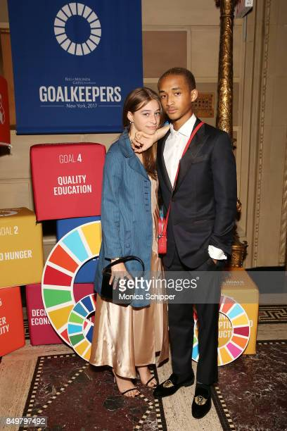 As world leaders gather in New York for the UN General Assembly actor Jaden Smith and Odessa Adlon attend The Goalkeepers Global Goals Awards hosted...