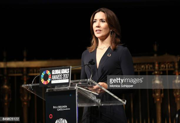As world leaders gather in New York for the UN General Assembly Crown Princess Mary of Demark speaks on stage at The Goalkeepers Global Goals Awards...
