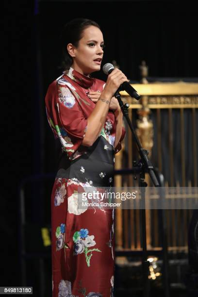 As world leaders gather in New York for the UN General Assembly singer Lily Allen performs on stage at The Goalkeepers Global Goals Awards hosted by...
