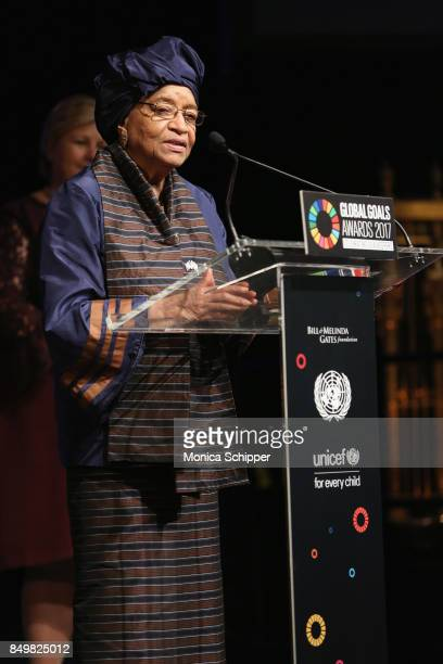 As world leaders gather in New York for the UN General Assembly President of Liberia Ellen Johnson Sirleaf speaks on stage at The Goalkeepers Global...