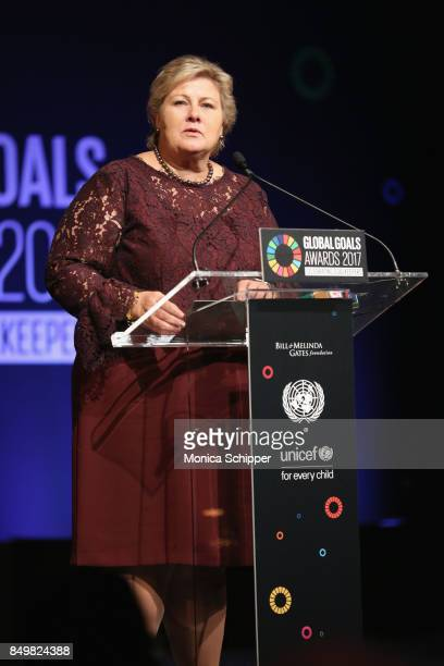 As world leaders gather in New York for the UN General Assembly Prime Minister of Norway Erna Solberg speaks on stage at The Goalkeepers Global Goals...